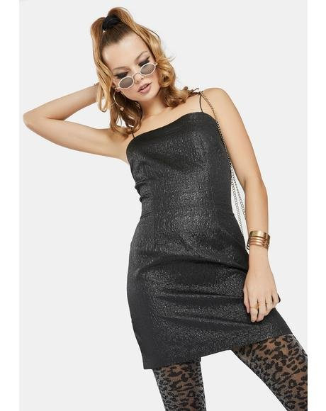 Black Metallic Brocade Mini Dress