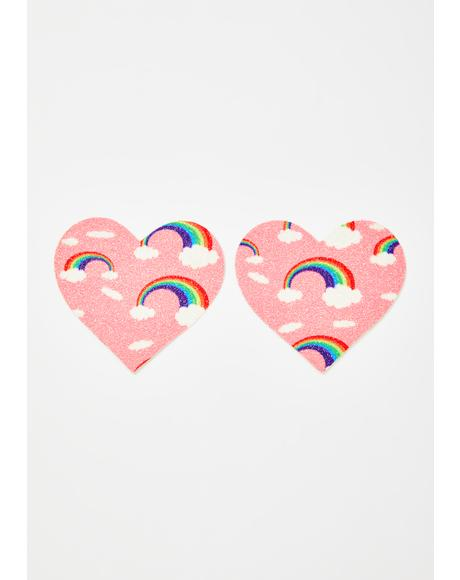 Pink Rainbow Heart Pasties