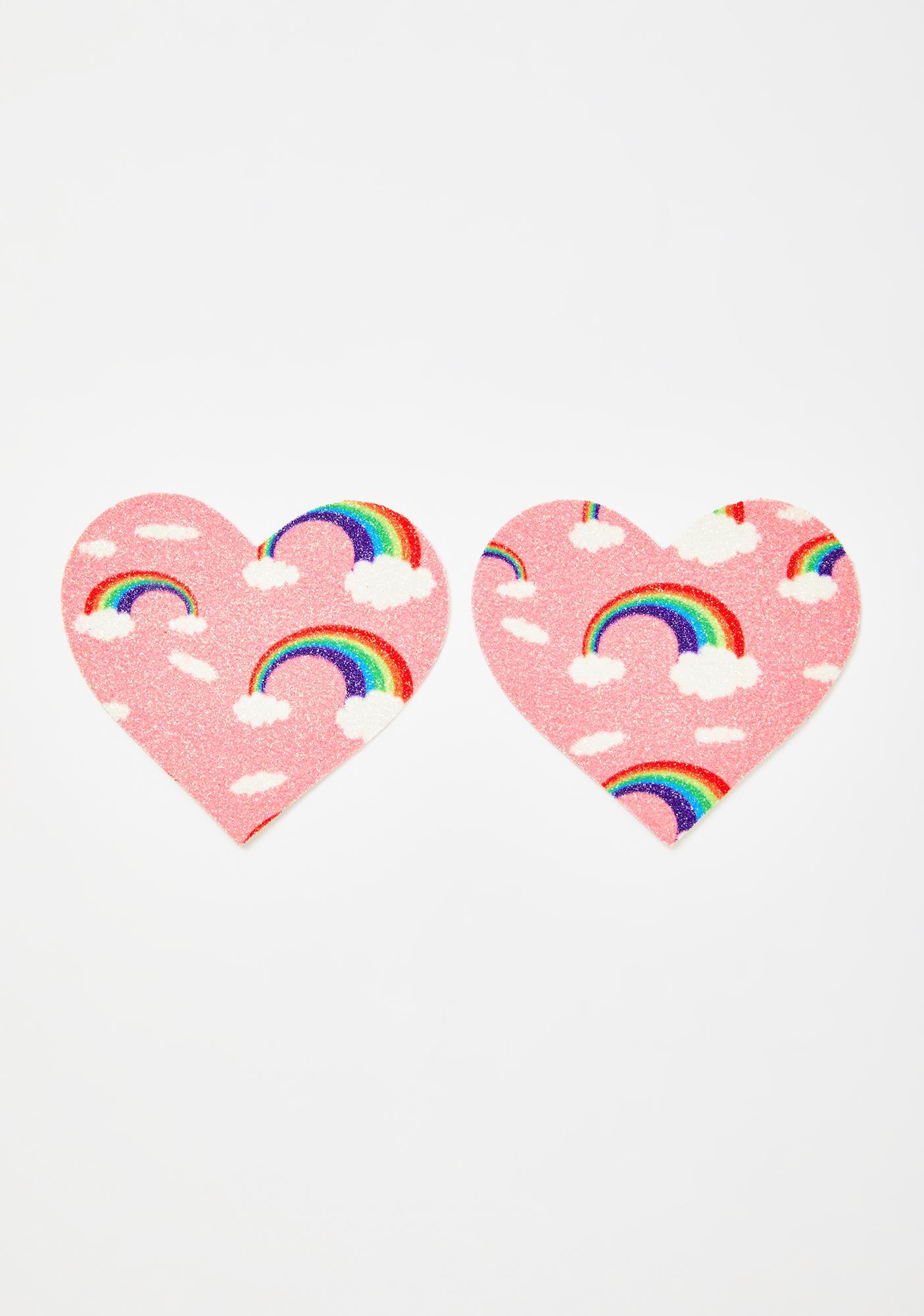Neva Nude Pink Rainbow Heart Pasties
