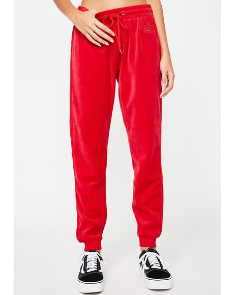 Red Stripe Velour Joggers