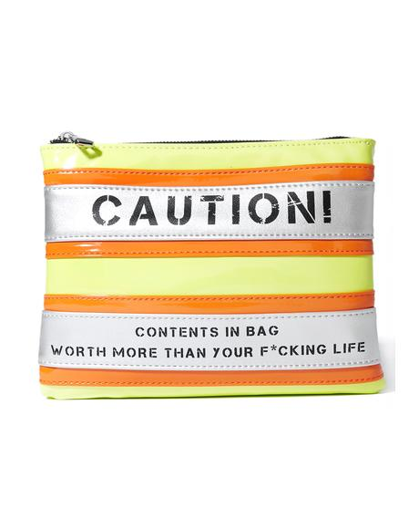 Caution Cosmetic Bag
