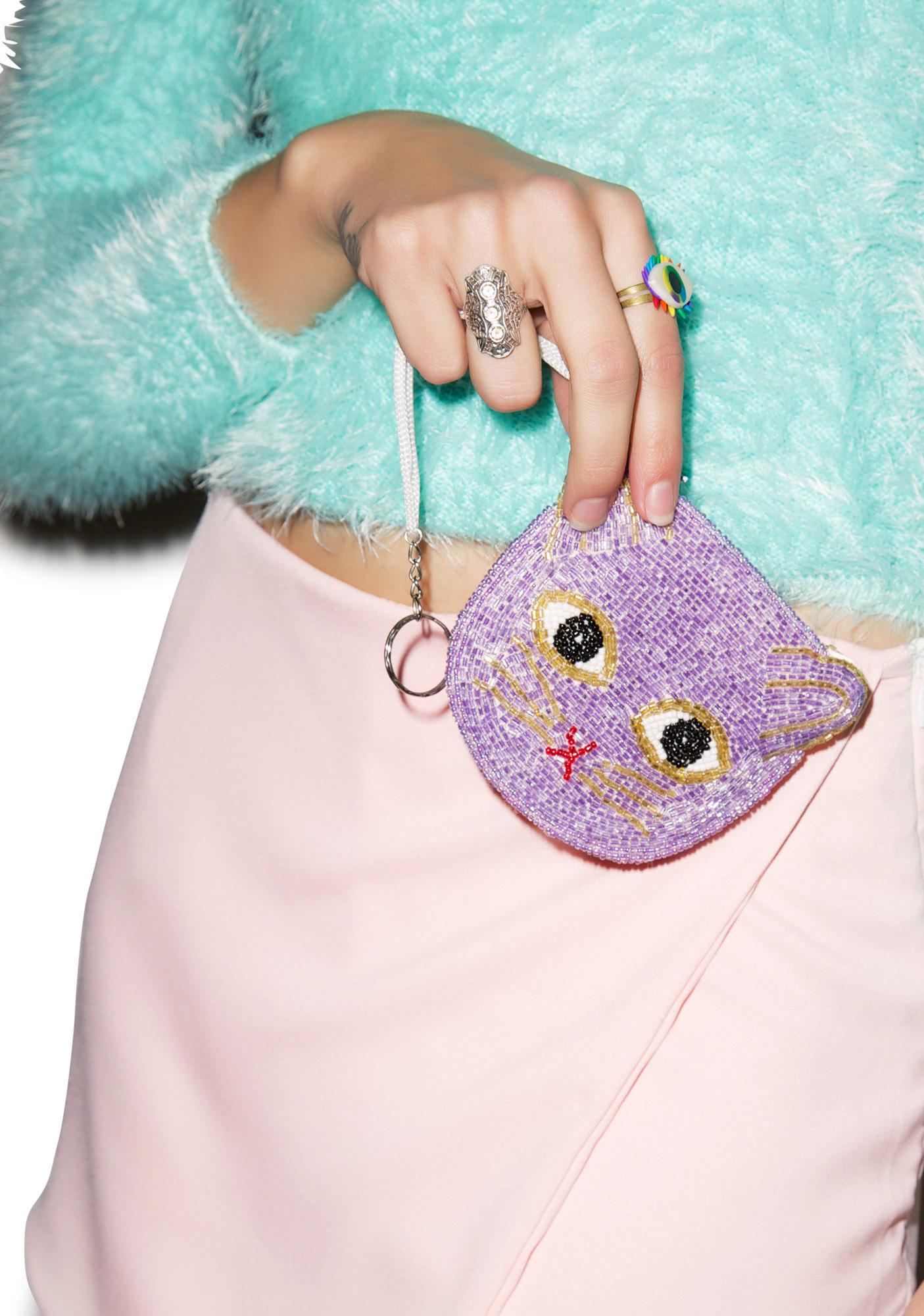 Kitty Kat Beaded Pouch