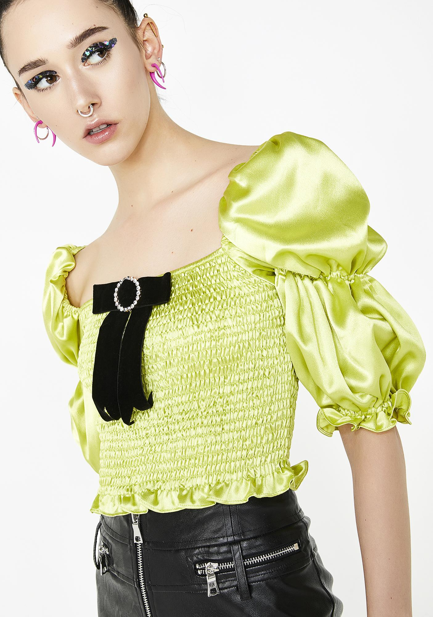No Dress Green Puff Top
