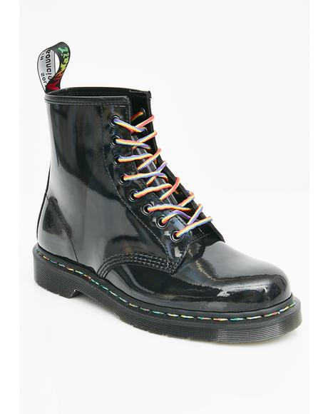 1460 Rainbow Patent Boots