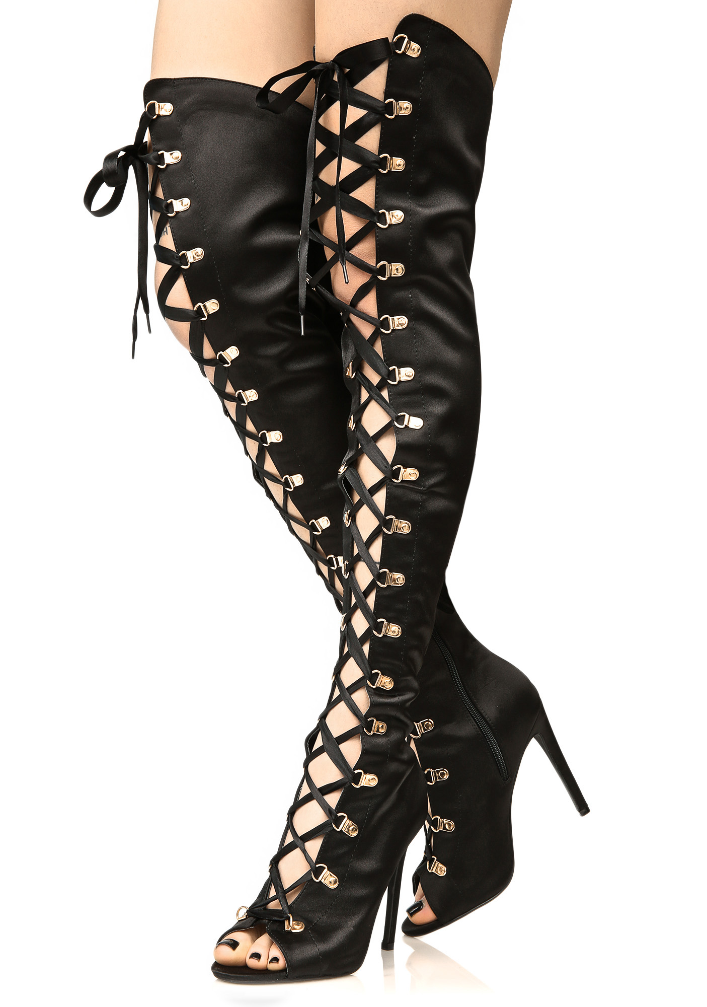 Vegan Leather Lace-Up Thigh High Boots