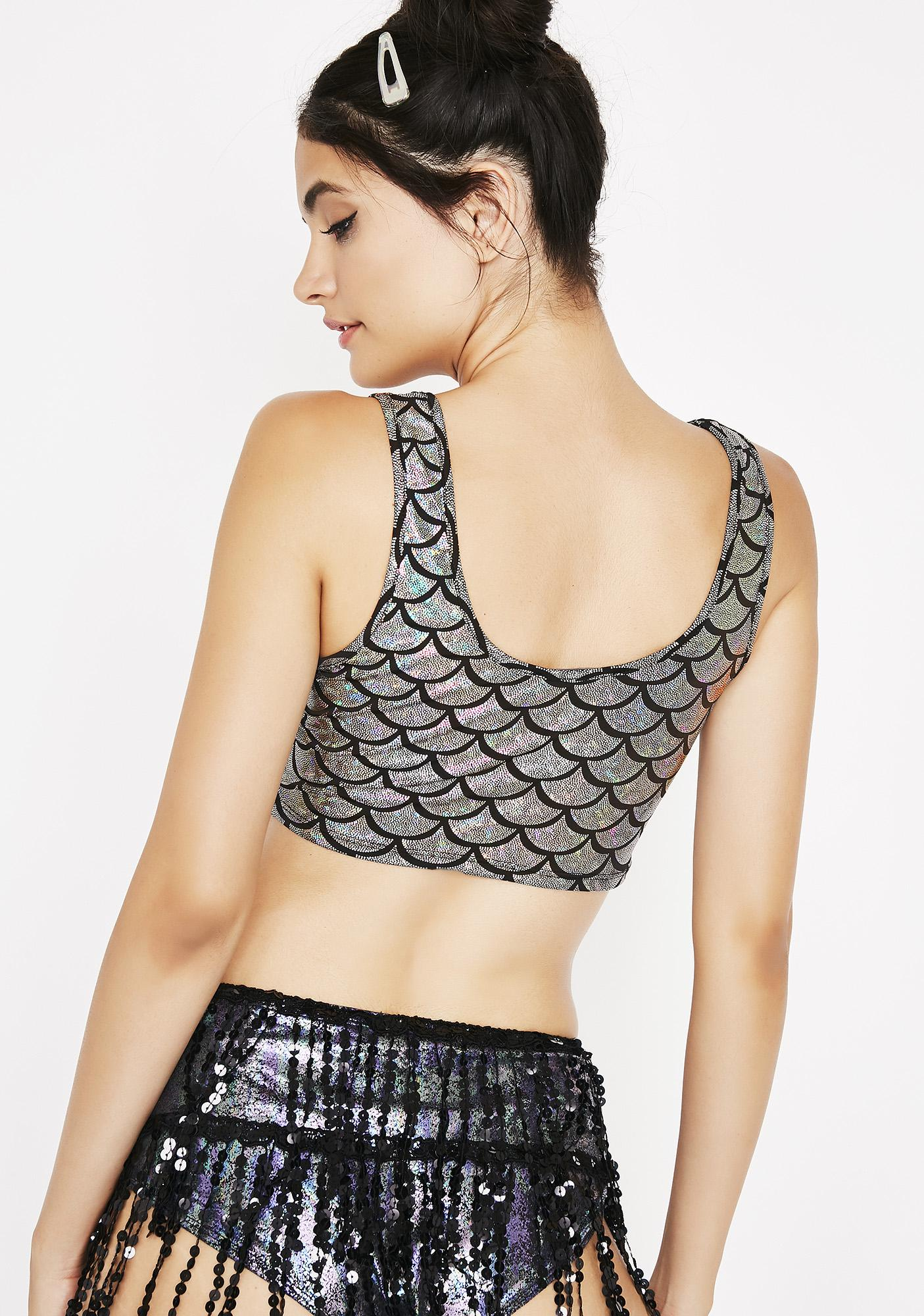 Chrome Mermaid Fantasy Crop Top