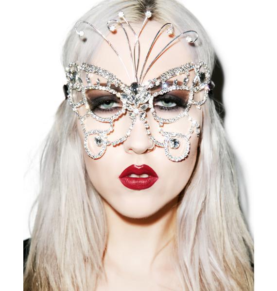 Dazzling Butterfly Rhinestone Mask