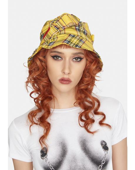 Yellow Plaid Bondage Bucket Hat