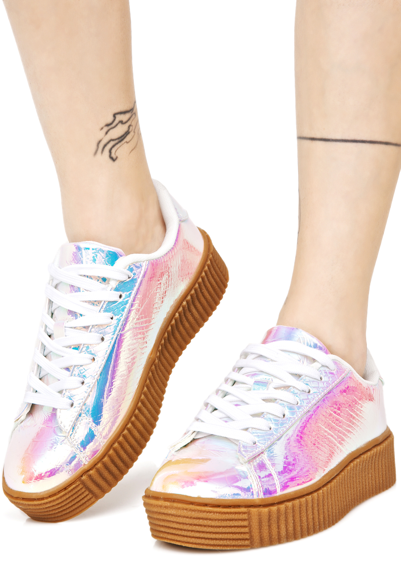 Pink Holographic Creeper Sneakers