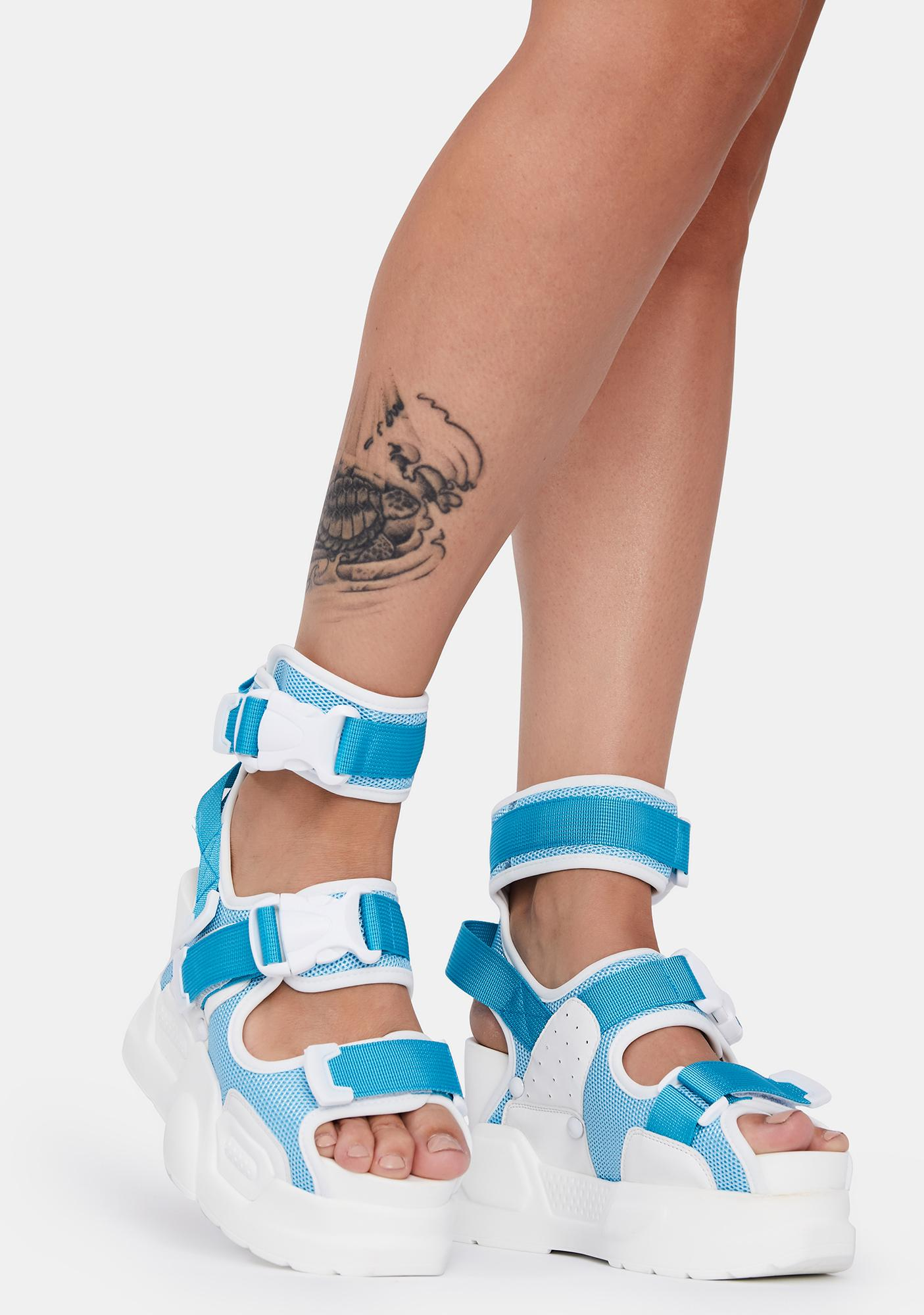 Anthony Wang Light Blue Mulberry Platform Sandals