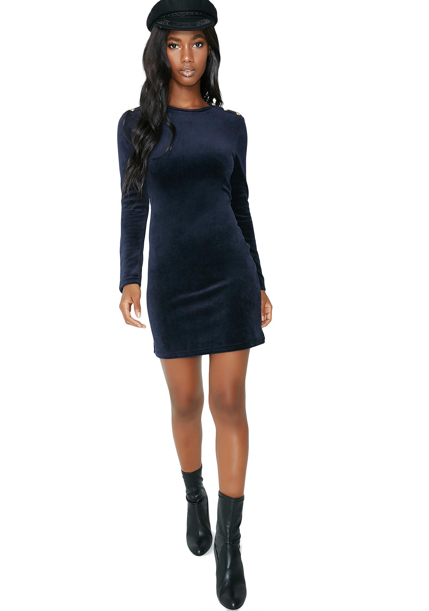 JUICY COUTURE Stretch Velour Solid Fitted Dress