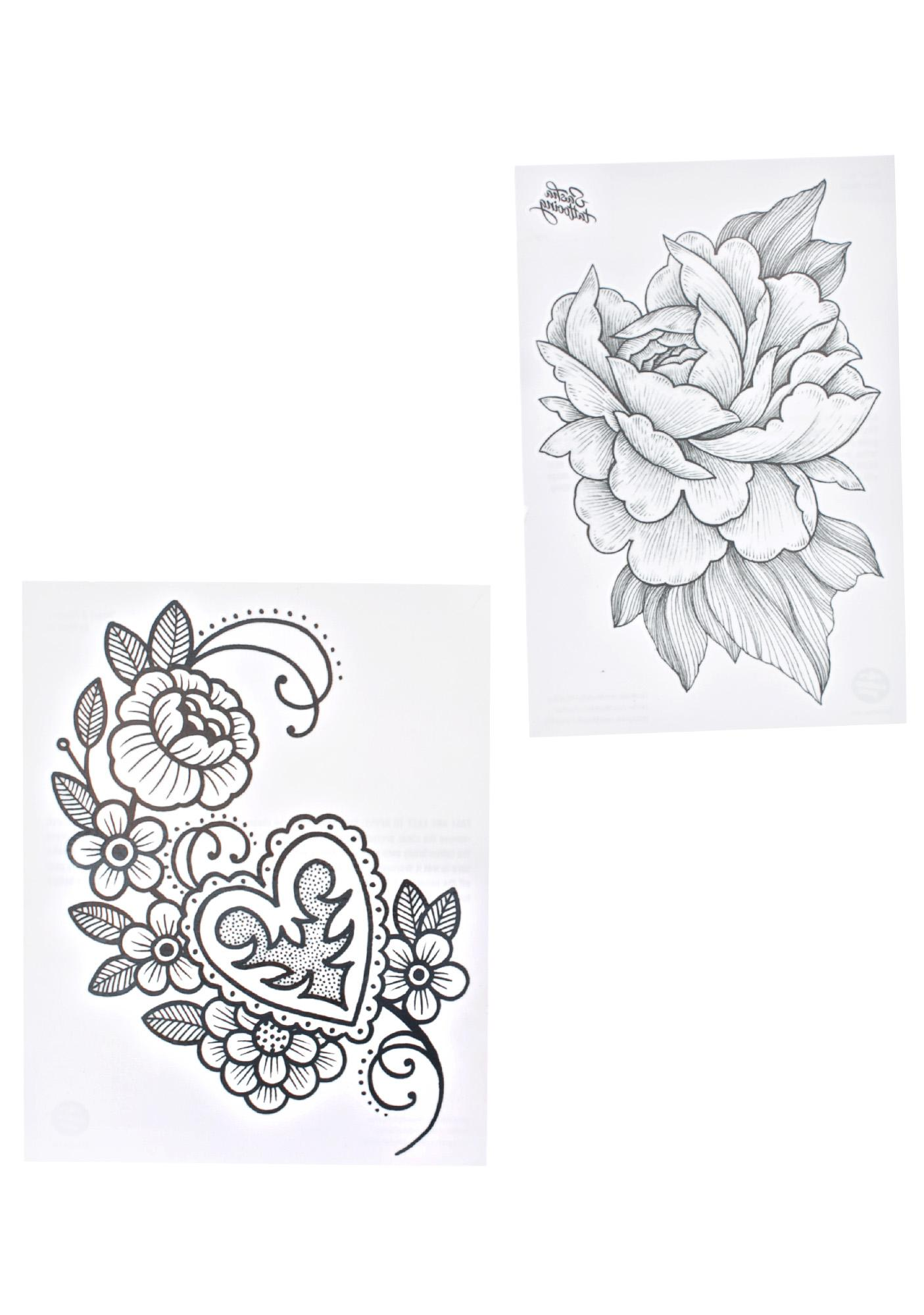 Heart & Flowers Temporary Tattoo