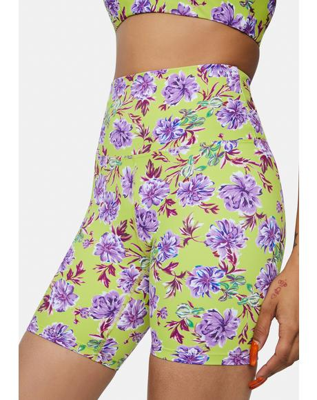 Lime Punch Gardenias Bike Shorts
