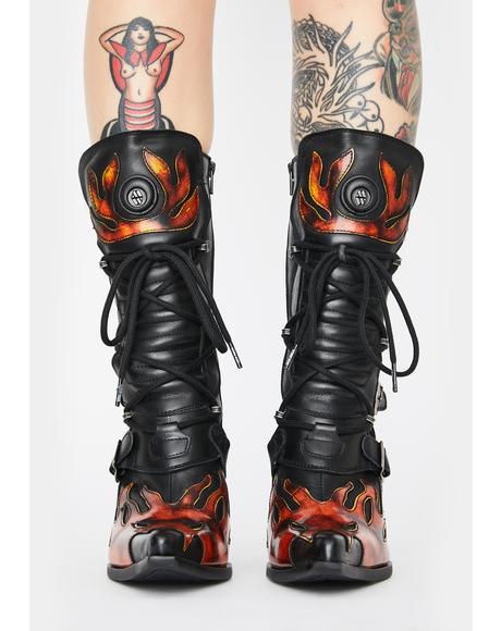 Flame Heeled Boots