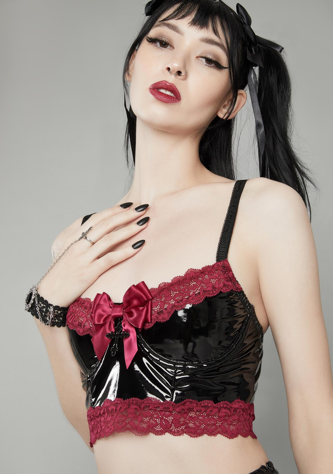 Widow Wine Bewitched Lace Trim Vinyl Top