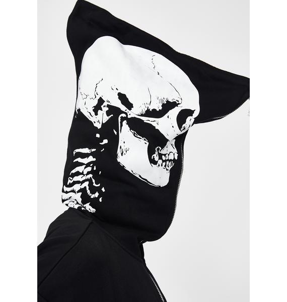Punk Rave Big Skeleton Print Zip Up Jacket