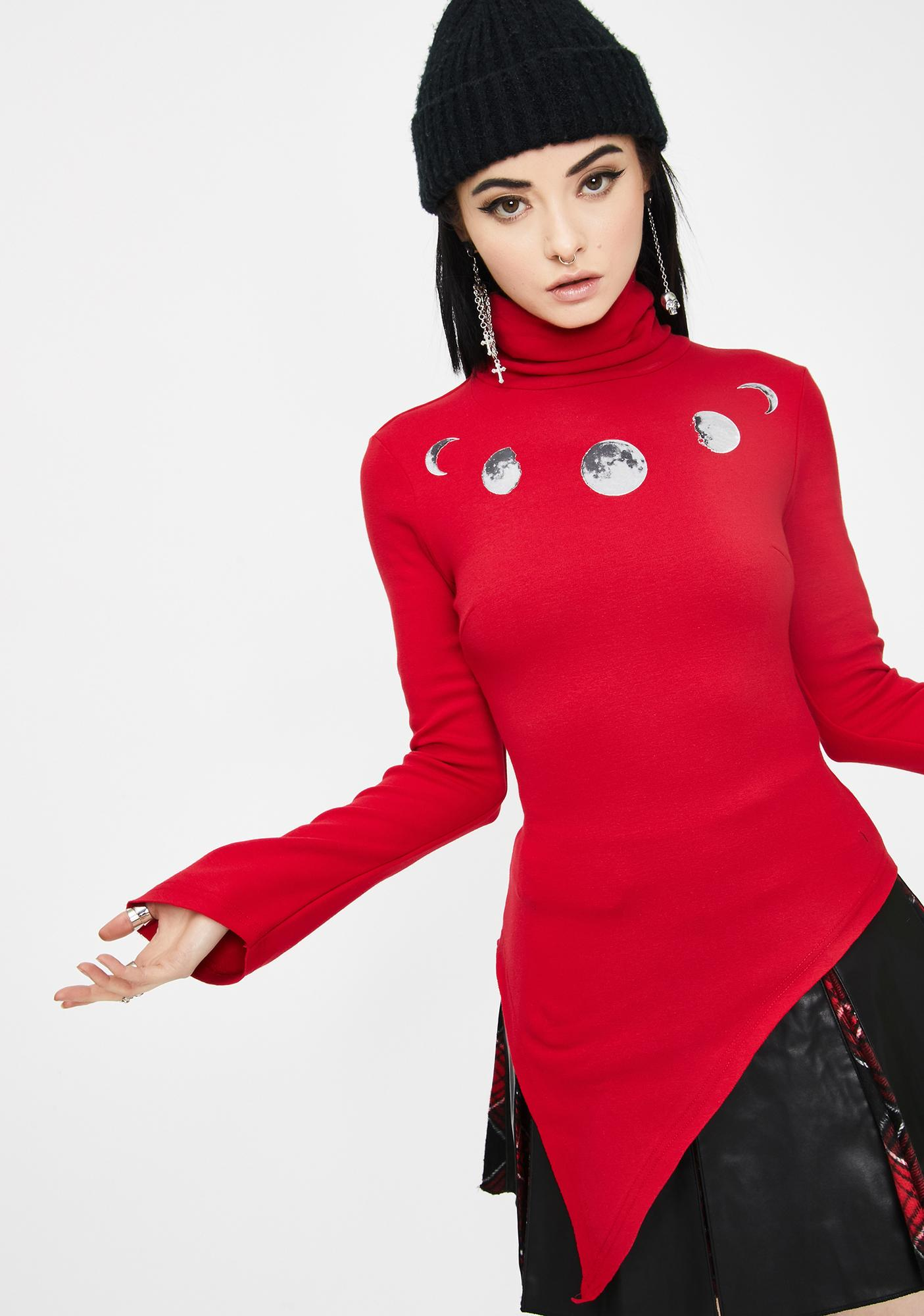 Punk Rave Red Before The Ascension Pullover Top
