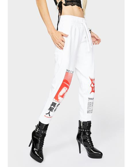 White Manga Index Joggers