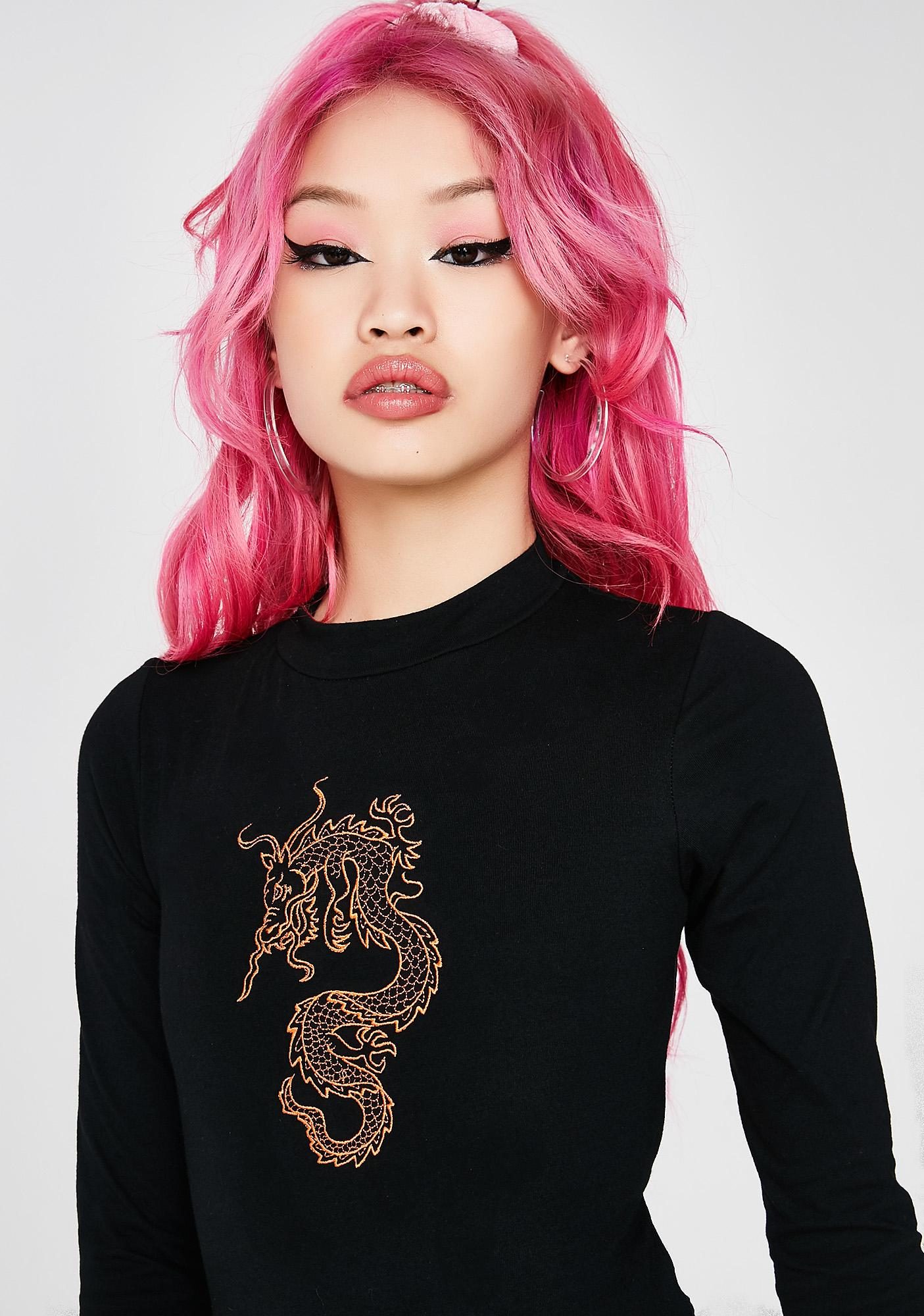 Minga Dragon Long Sleeve Bodysuit
