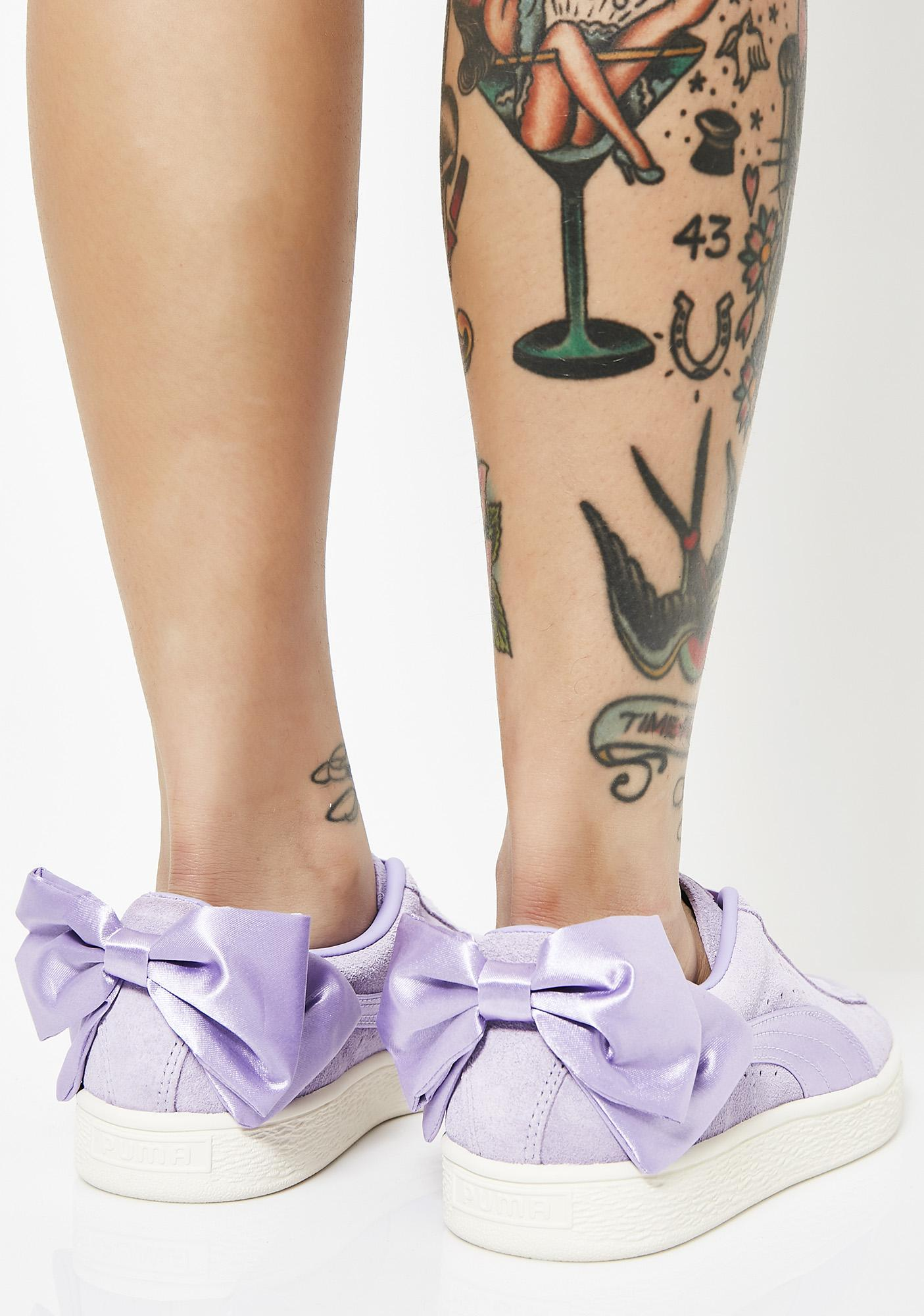 PUMA Purple Rose Suede Bow Sneakers