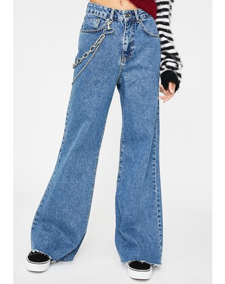 Chain Wide Leg Jeans