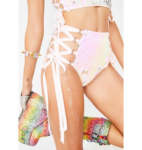 Club Exx Technotopia Flip Sequin Shorts