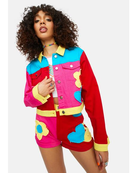 Free Luv Nation Colorblock Applique Twill Jacket