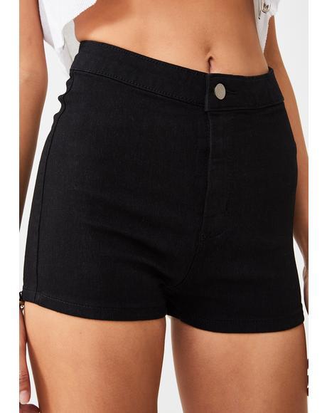 True Black Mini Shorts