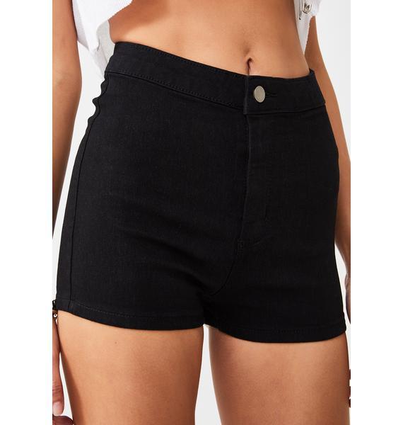 Momokrom True Black Mini Shorts