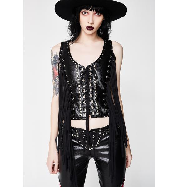 Wicked Lester Clothing Fringe Lace-Up Top