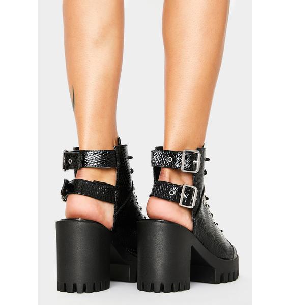 Public Desire Black Croc Rockin' Peep Toe Ankle Boots