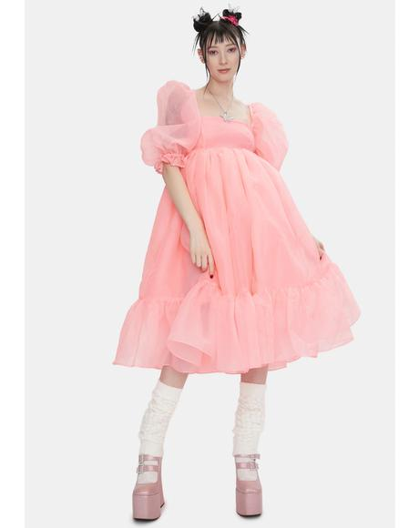 The Pink Highlighter French Puff Dress