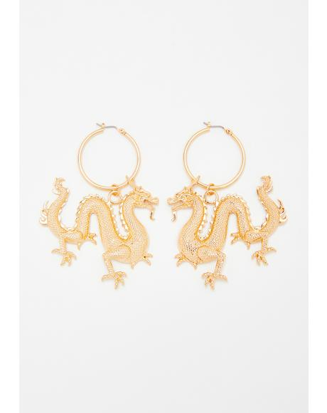 Golden Luck Dragon Earrings
