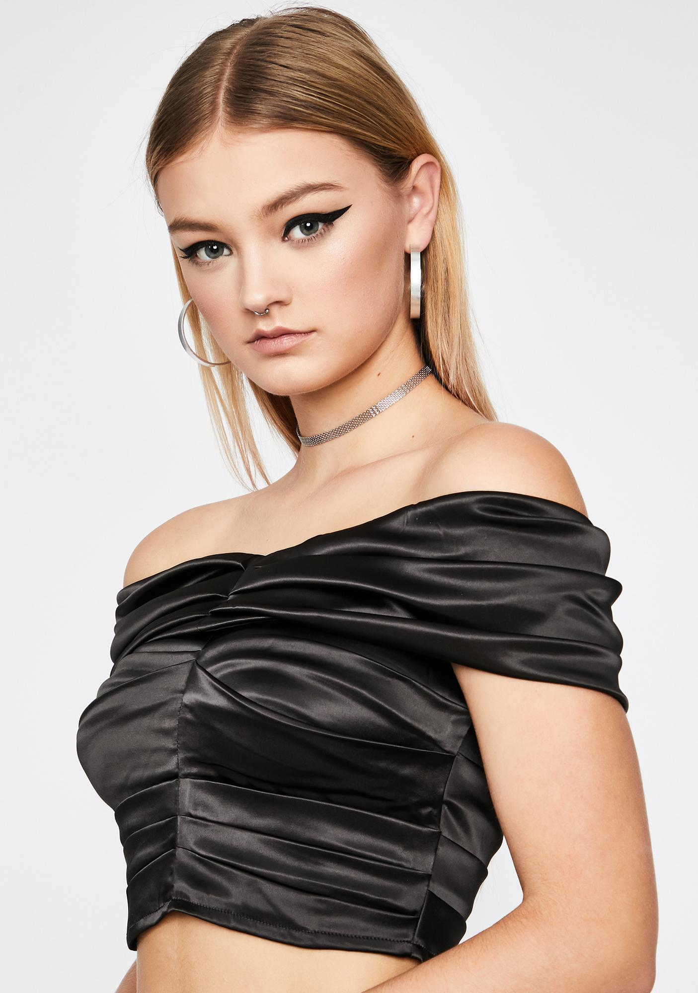 Complex Affair Satin Crop Top
