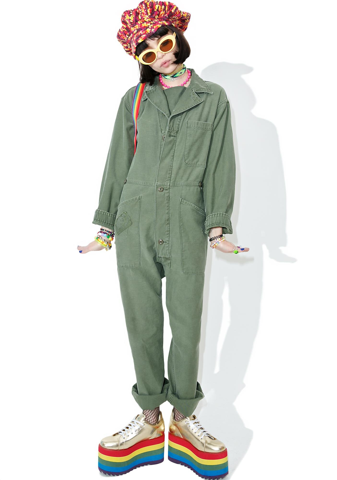 Vintage Army Surplus Patched Flightsuit