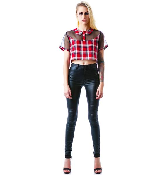 Plaid Hard Crop Top