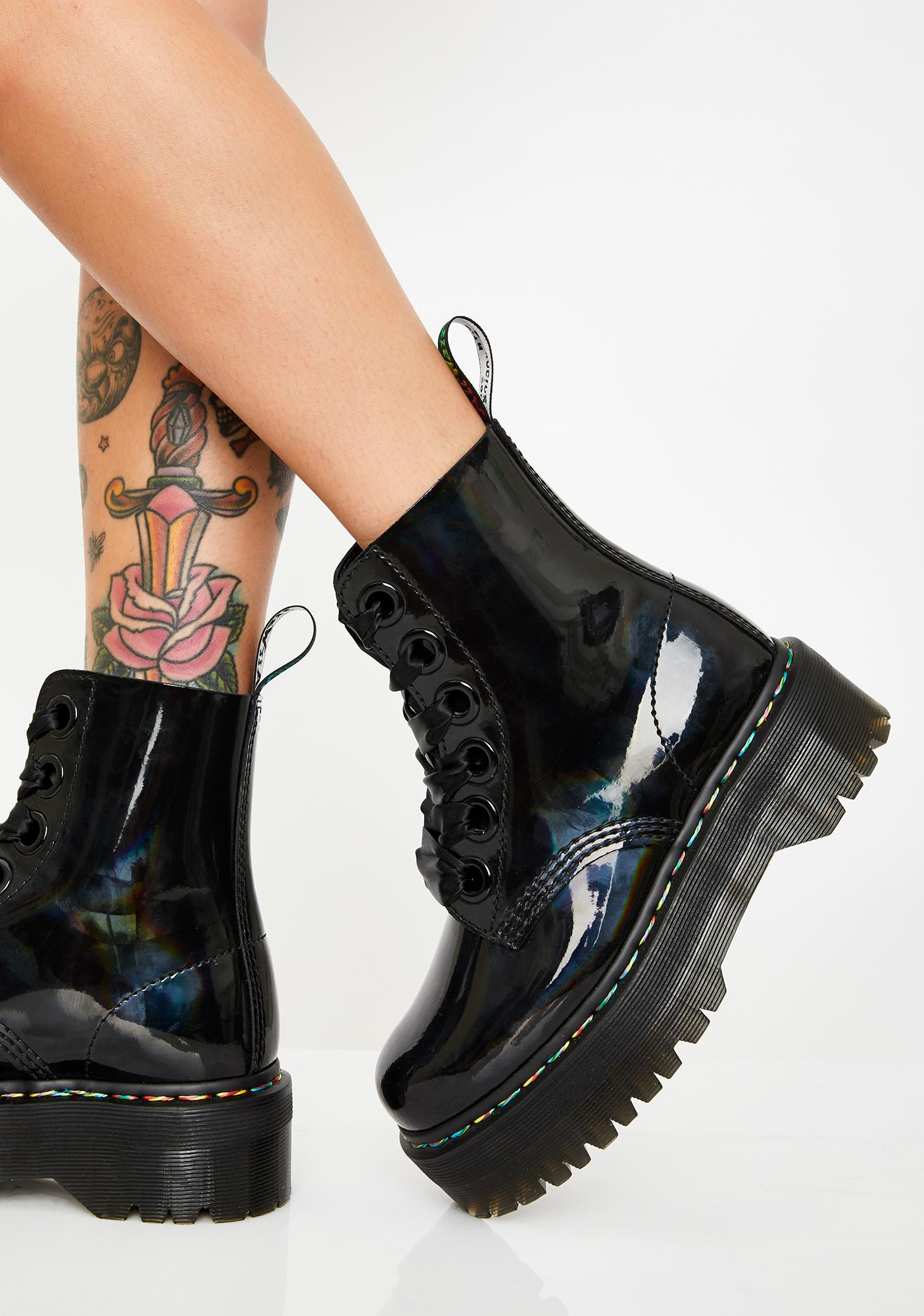 Molly Rainbow Patent Boots