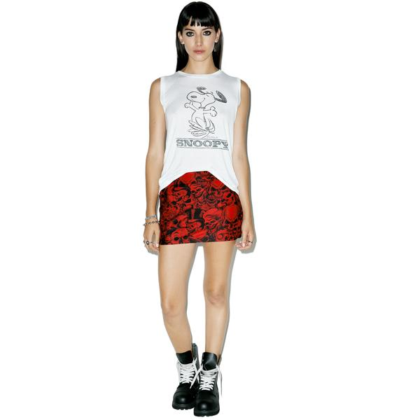 Crimson Skulls Mini Skirt