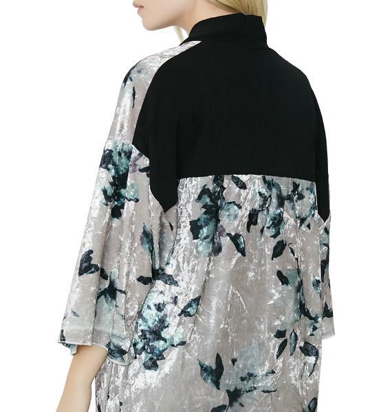 Lady Lily Floral Velvet Kimono