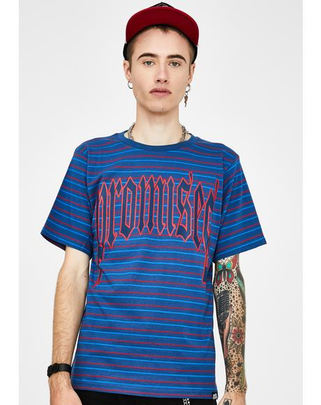 Blue Stripe Ruthless Graphic Tee