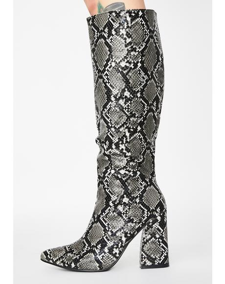 Smokey Cobra Couture Knee High Boots