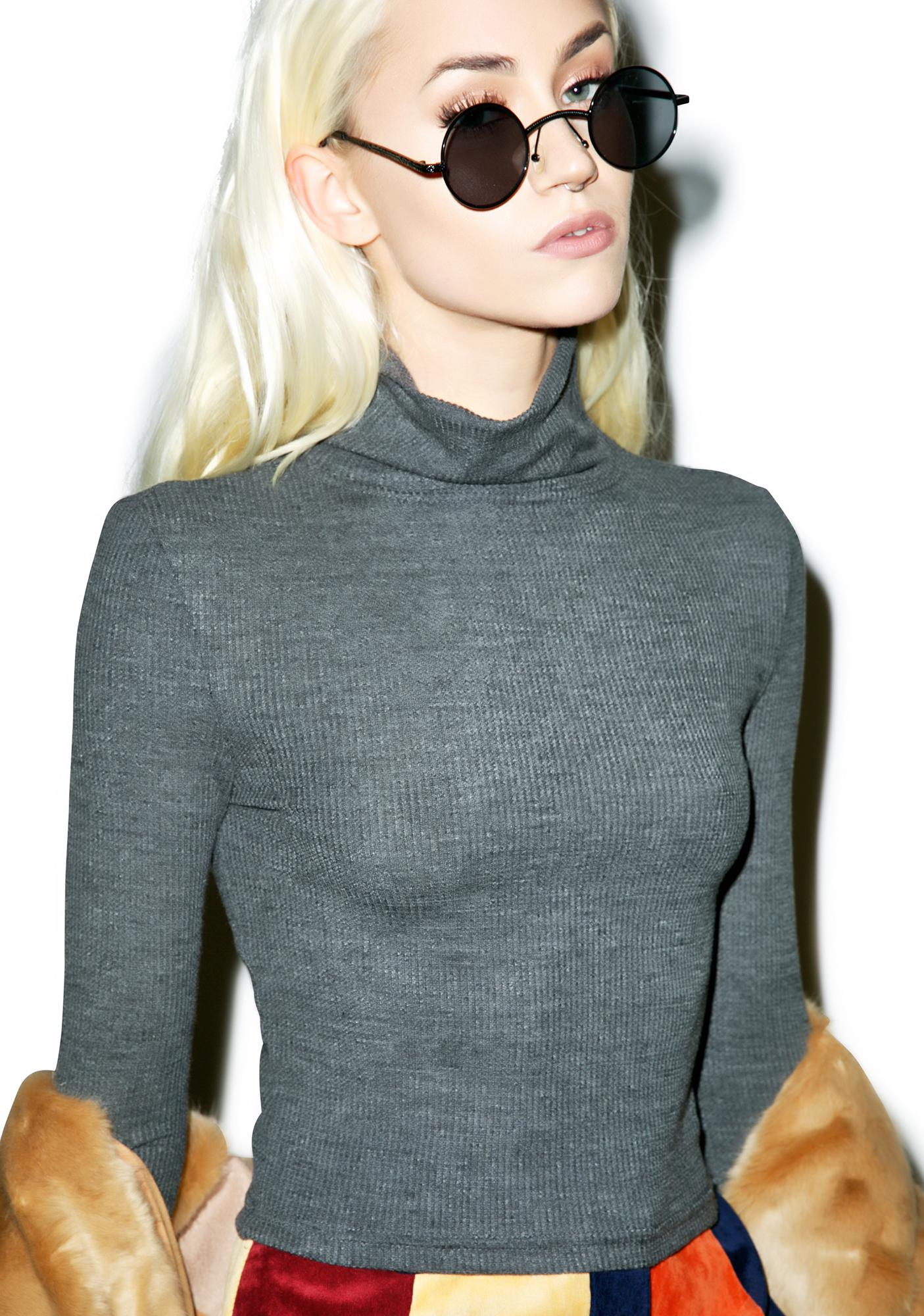 Mink Pink Glorious Night Crop Turtleneck Sweater