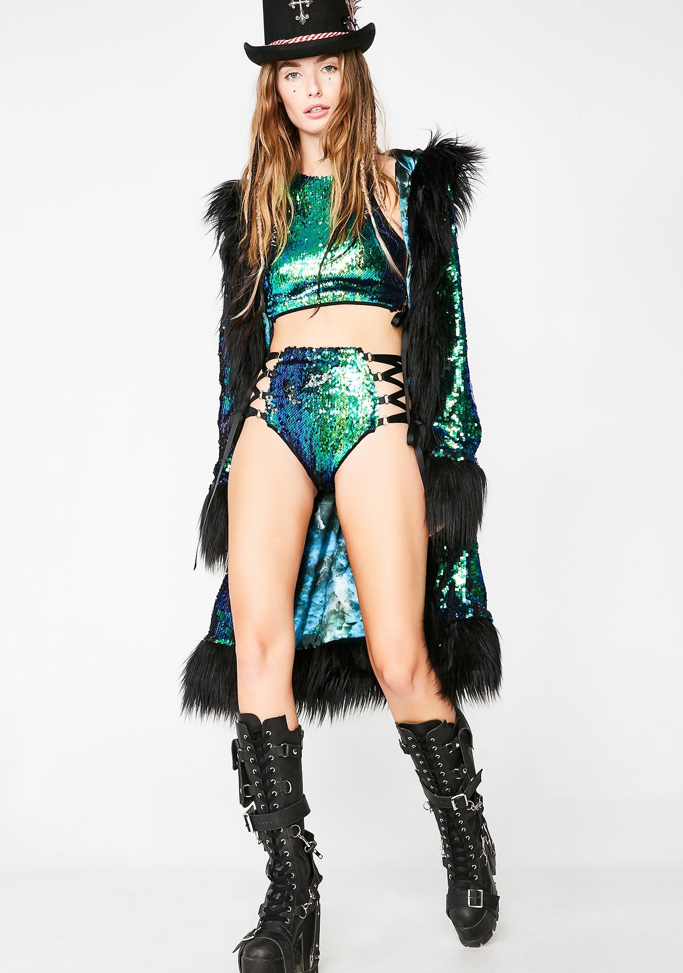 Club Exx Merbae Technotopia Flip Sequin Shorts