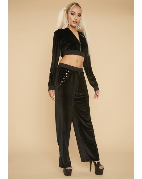 That's So Sag Velour Wide Leg Pants