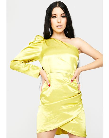 Lime Yellow One Shoulder Satin Dress