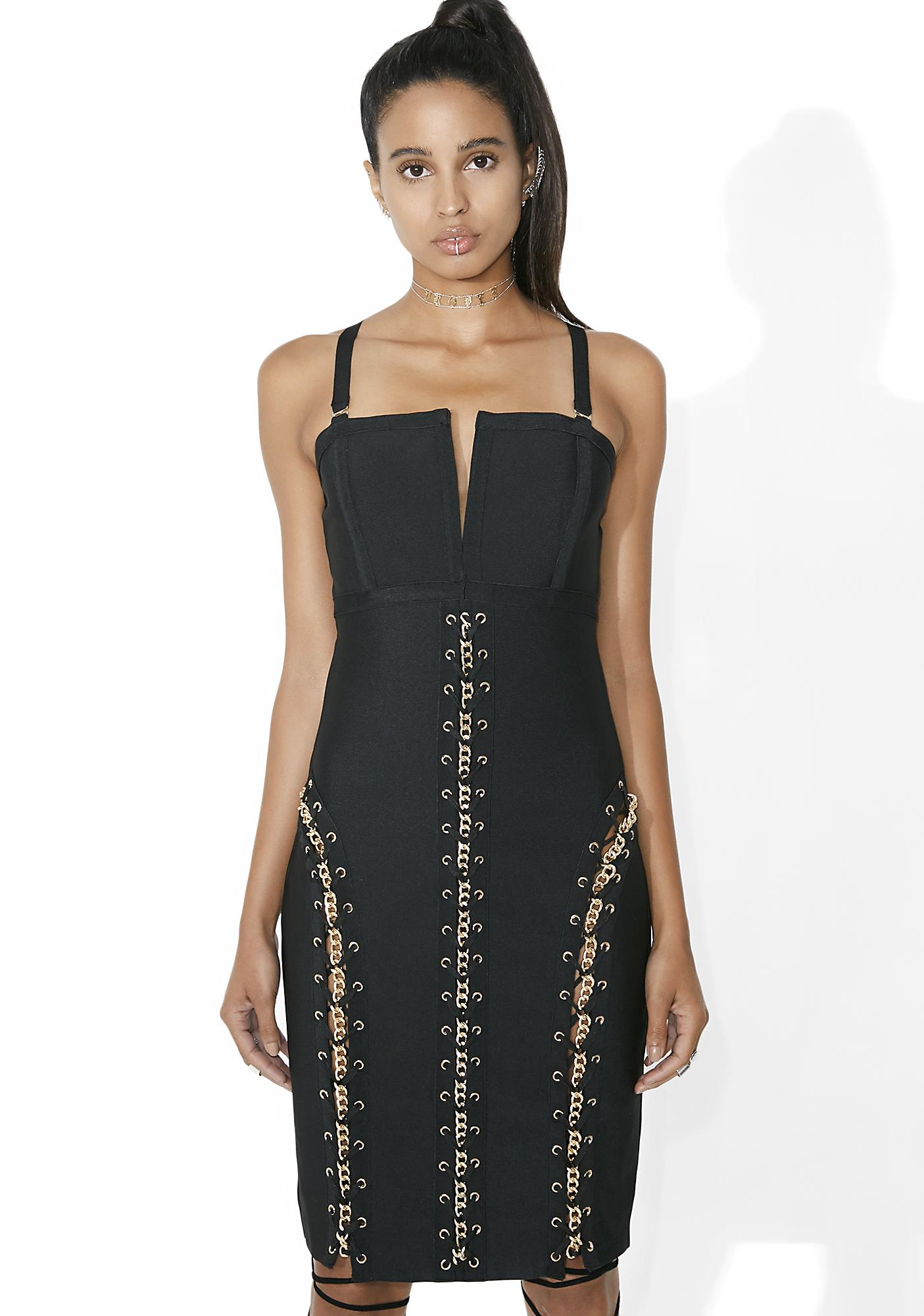 Prime Time Lace-Up Bodycon Dress