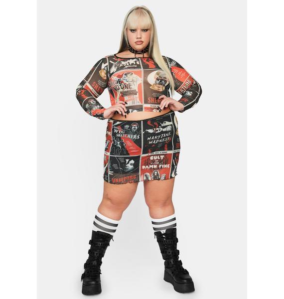 Dolls Kill Real Fears On Film Mesh Skirt
