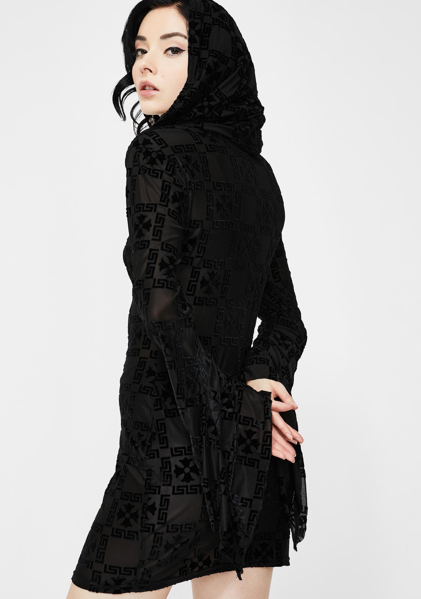 Devil Fashion Hooded Bell Sleeve Mini Dress