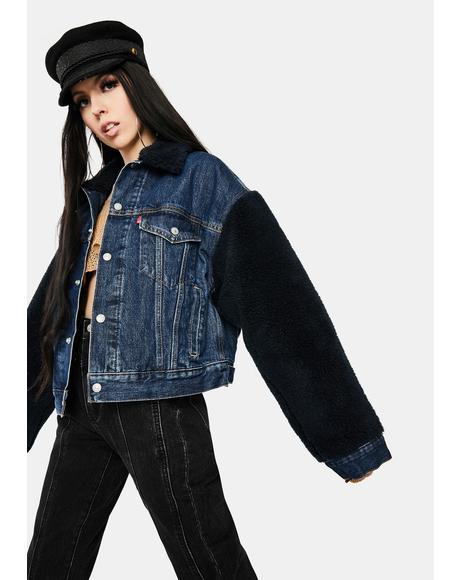 Hot Fuzz Cocoon Sherpa Denim Jacket