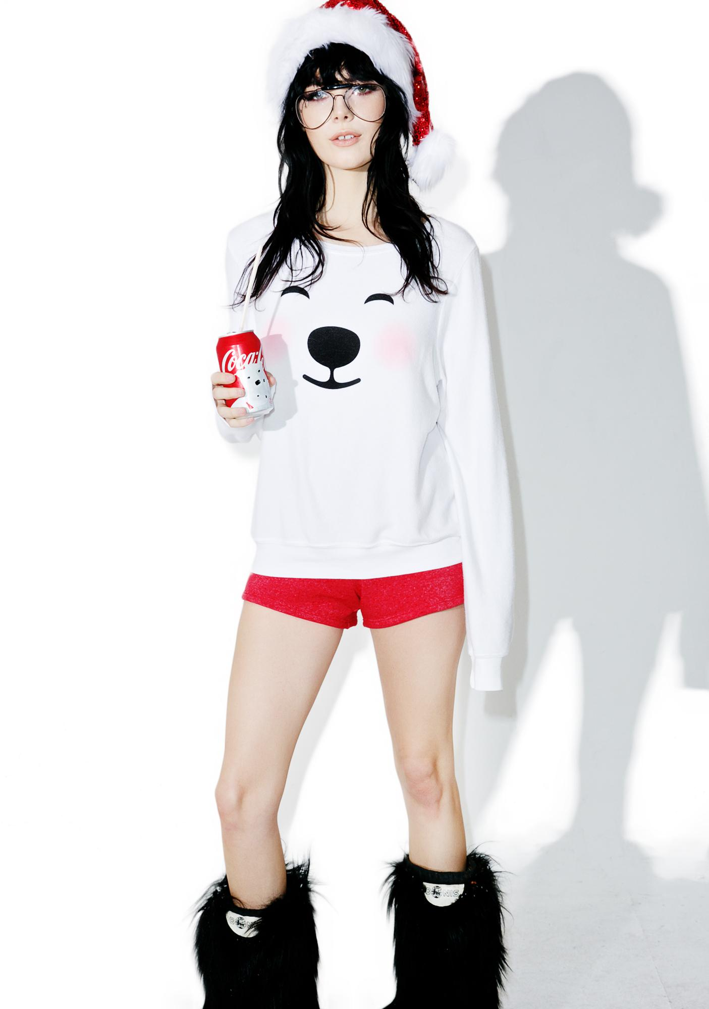 Wildfox Couture Polar Bear Emoji Baggy Beach Jumper